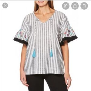 Rafaella XL Embroidered Striped Top with tassels